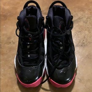 Big girls Air Jordan black n hot pink